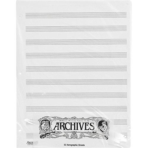 Hojas sueltas de papel xerográfico pentagramado Archives, 10 pentagramas, 50 páginas.