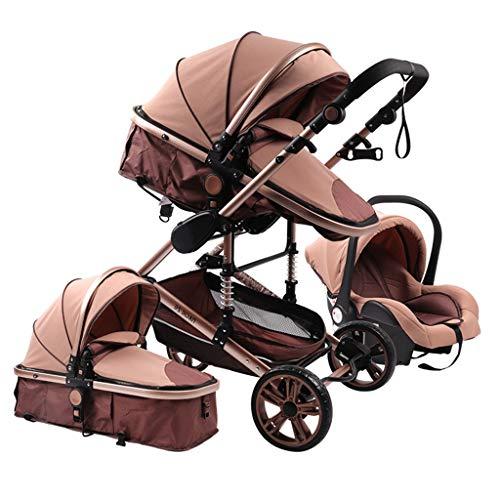 JIAX Cochecito de bebé para recién nacidos y niños pequeños convertible Cochecito de bebé compacto solo asiento de carro de bebé, ventilador de lujo para cochecito de bebé, portavasos (Color: Caqui)