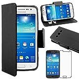 ebestStar - Compatible Coque Samsung Galaxy Core 4G SM-G386F Etui PU Cuir Housse Portefeuille Porte-Cartes Support Stand, Noir +Film Protection écran Verre Trempé [Appareil: 132.9 x66.3 x9.8mm 4.5'']