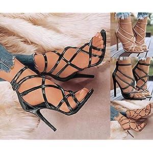 Minetom Sandali Donna Scarpe da Spiaggia Estate Moda Romano Partito Sandalo Cava Tinta Unita Sexy Tacco Spillo Alto Casuale con Zip