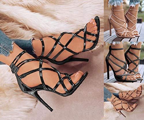 Minetom Sandali Donna Scarpe da Spiaggia Estate Moda Romano Partito Sandalo Cava Tinta Unita Sexy Tacco Spillo Alto…