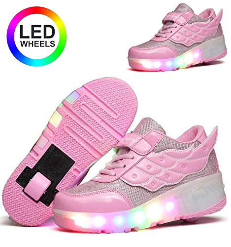 dhh Unisex Enfants LED roulettes Bouton Poussoir Ajustable Inline Skates Baskets Chaussures De Multisports Outdoor Course Sneakers avec USB Rechargeable Bouton Poussoir Ajustable,Pink-33