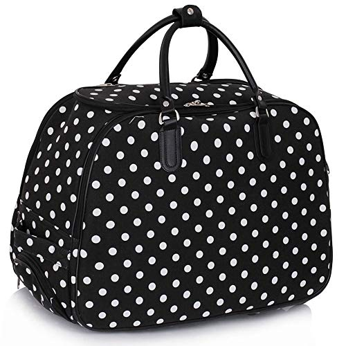 Craze London New Ladies Travel Holdall Bags Hand Luggage Womens Design Print Weekend Wheeled Trolley Bag (309 Black)