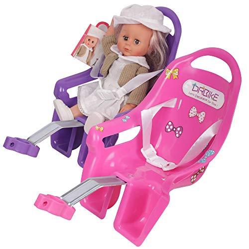 STITCH Kids Bike Doll Seat with DIY Sticker for Girls Bike, Kids Bike Accessories Purple…