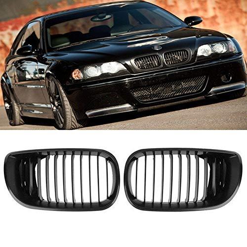 1 Paar Kühlergitter für BMW E46 2002–2004 – mattschwarzes Gitter, einreihig, vorne, nierenförmig -  Auto Frontstoßstange Kühlergitter – Verbessert die Optik Ihres Fahrzeugs Free Size matte black