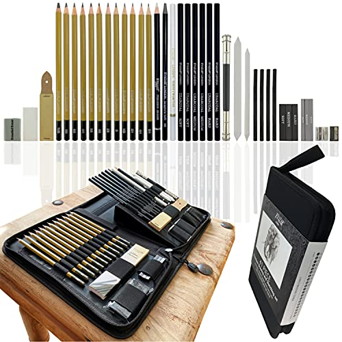 Sketch & Drawing Pencils kit; Includes Assorted Graphite & Charcoal Pencils...