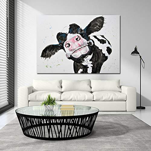 Gudojk decoratief schilderij met waterfoto koeien, canvas, muurkunst, printen, moderne kunst, dieren, muurschilderijen voor de woonkamer zonder lijst 40x60cm(16x24inch)