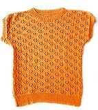 Sommerpulli handgestrickt aus Baumwollmischgarn Gr. S/M in orange Lochmuster