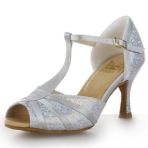 JIA JIA Y20524 Damen Sandalen Ausgestelltes Heel Super-Satin Latein Tanzschuhe Silber, 39