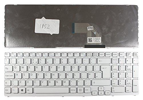 Keyboards4Laptops Sony Vaio SVE1512Y1ESI Marco Blanco Blanco Windows 8 Versión 2 (por Favor, consulte la Imagen) Layout Reino Unido Teclado de Repuesto para Ordenador portátil