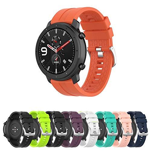 Pulseira Silicone 22mm compatível com Amazfit GTR 47mm - Stratos3 - Galaxy Watch 46mm - Gear S3 Frontier - Galaxy Watch 3 45mm - Marca LTIMPORTS (Laranja)