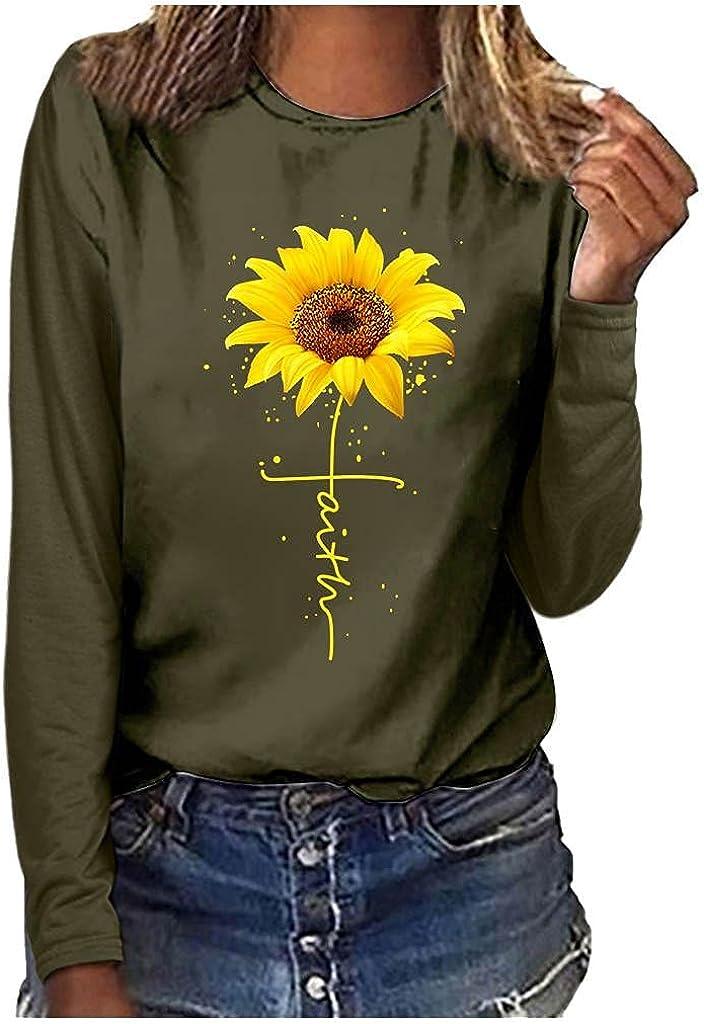 Christian Long Sleeve Shirts Fall Shirts for Women Faith Cross Jesus Shirt Sunflower Pattern Tunic Shirts Graphic Tees