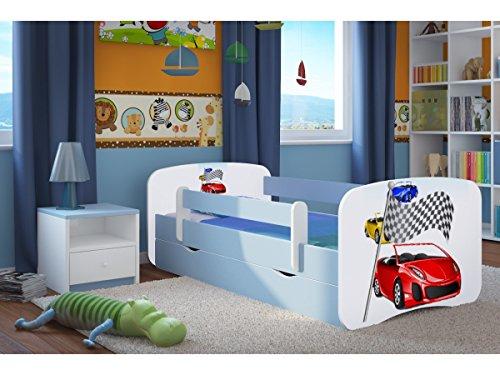 CARELLIA 'Kinderbett Ferrari 80x 180cm mit Barriere Sicherheitsschuhe + Lattenrost + Schubladen + Matratze Offert.–Blau