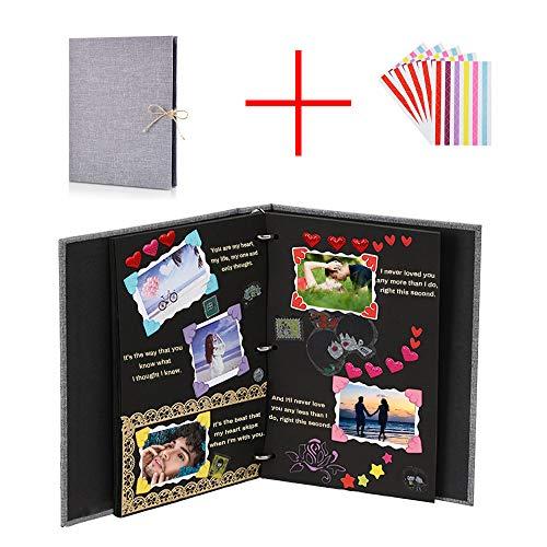BSET BUY Fotoalbum zum Selbstgestalten Leder Scrapbook Album Schwarze Seiten Fotobuch Fotoalben zum Einkleben