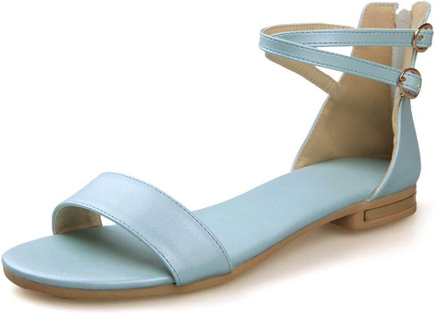 AmoonyFashion Womens Open Toe Low Heel Soft Material PU Solid Sandals with Zippers, Lightbluee, 7.5 B(M) US