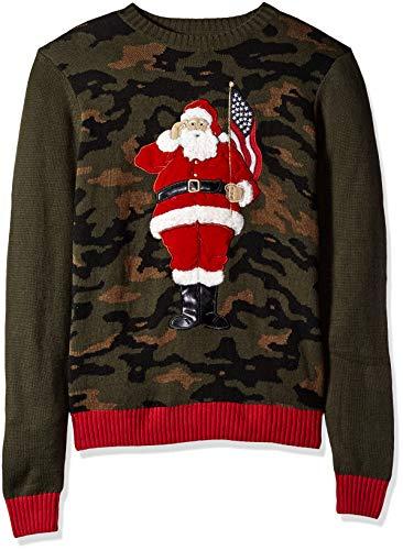 Ugly Christmas Sweater Company Men's Assorted Crew Neck Xmas Sweaters, Deep Pine Patriotic Santa Applique', Large