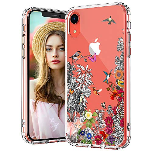 MOSNOVO Floral Flower Humming Bird Pattern Designed for iPhone XR Case,Clear Case with Design Girls Women,TPU Bumper with Protective Hard Case Cover