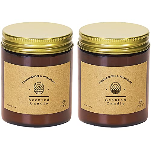 Chloefu LAN Cinnamon Pumpkin Scented Candles Sets Soy Wax Candle Tobacco Vanilla Bergamot 200g 45 Hour Long Lasting Aromatherapy Soy Candle Glass Jar Home Decor Candles Gifts for Women 2 Pack