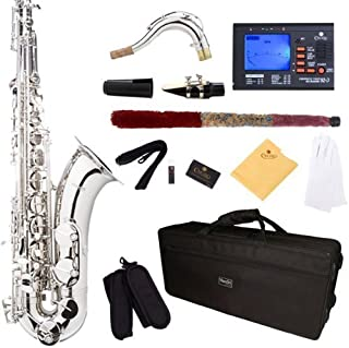Mendini by Cecilio MTS-N+92D Silver/Nickel B Flat Tenor Saxophone with Tuner, Case,..