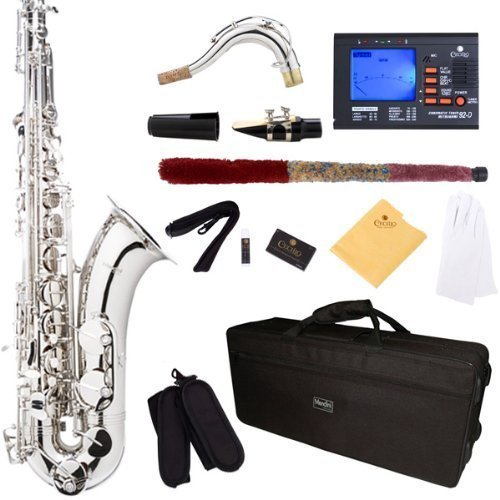 Mendini by Cecilio MTS-N+92D Silver/Nickel B Flat Tenor Saxophone with Tuner, Case, Mouthpiece, 10 Reeds and More