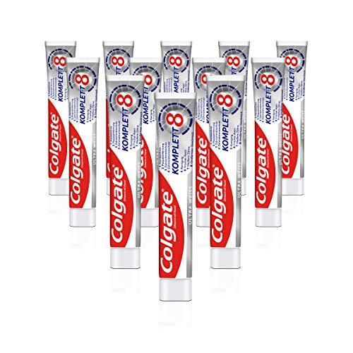 Colgate Zahnpasta Komplett Ultra Weiß, 12er Pack (12 x 75 ml) - Zahncreme für natürlich weiße Zähne, Komplettschutz für gesunde Zähne