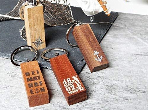 Schlüsselanhänger aus Holz Schlüsselundwort, Koordinaten, Anker, Glücksbringer, Autoschlüssel, Schutzengel