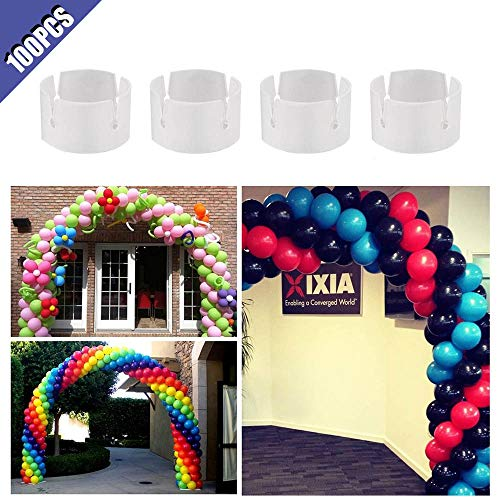 Comidox 100pcs Balloon Ring Clips Balloon Arch and Balloons Column Stand Connectors Clip Ring Buckle for Party Wedding Big Events Decoration