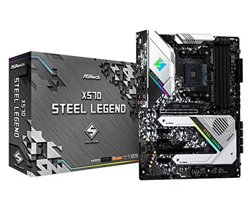 Asrock X570 Steel Legend - Placa Base (AMD, Zócalo AM4, AMD Ryzen, DDR4-SDRAM, DIMM, 2133,2400,2667,2933,3200,3466,3600,4133,4200,4266,4300,4400 MHz)