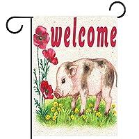 ガーデンフラッグヤードフラッグウェルカムフラッグハウスフラッグアウトドアフラッグホリデーパーティー季節を問わずデコレーション動物の豚の花ポピーのようこそ