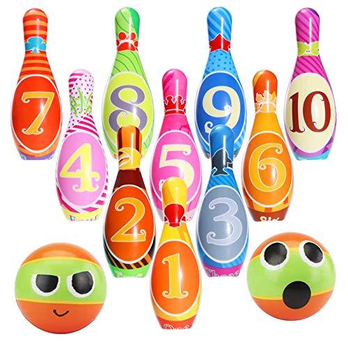 FancyWhoop Bowling Set Kinder Kegelspiel Spielzeug Outdoor Indoor Bowling Pins Spiele mit 10 Pins und 2 Bällen Frühe Entwicklung Spielzeug für Kinder Jungen Mädchen 3 4 5 6 7 8 Jahre