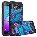 Galaxy J3 Case, Galaxy Sky Case, J36v Case,Galaxy Express Prime,Galaxy Sol,Galaxy Amp Prime Case Hybrid Dual Layer Defender Protective Case Compatible for Samsung Galaxy J3v, Blue Butterfly