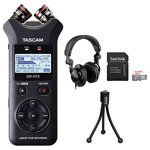 Tascam DR-07X Stereo Handheld Digital Audio Recorder with Polsen HPC-A30 Studio Monitor Headphones, 32GB microSDHC Card & Tripod Bundle