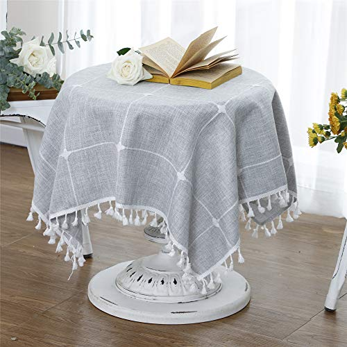 LUCKYHOUSEHOME Checked Lattice Small Square Tablecloth Embroidery Tassel Table Cover for Home Dinning Tabletop 35x35 Inch, Gray