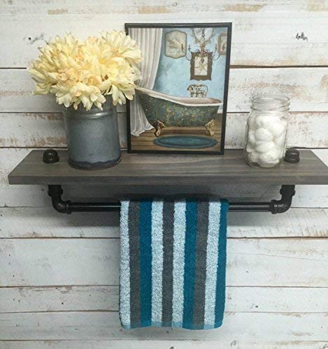 Rustic Towel Bar Bathroom Shelf