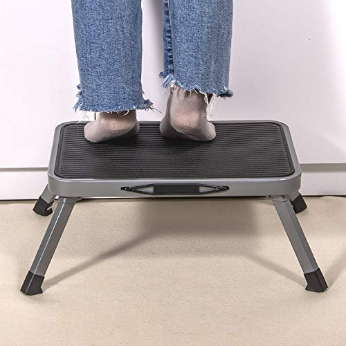 Olive Portable Steel Step Stool Folding One Step Ladder with Anti-Slip Plastic Platform Medical Footstool for Adult and Children at Home Max Load 330 lbs