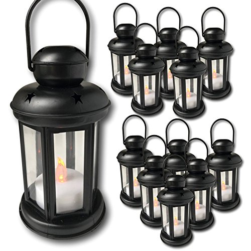 """Decorative Lantern - Set of 12 Each with an LED Flameless Candle Included - 6 Hour Timer - 9"""" High Lanterns - Indoor/Outdoor Use"""