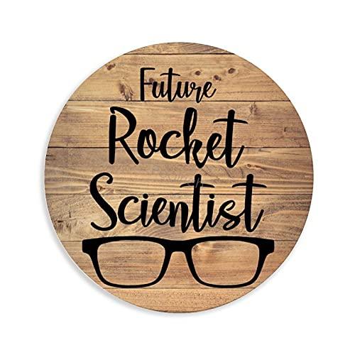 Pealrich Placa de madera colgante con diseño de futuro cohete científico, divertida placa de madera rústica para decoración de sala de estar, dormitorio, boda, 12 pulgadas con una cuerda