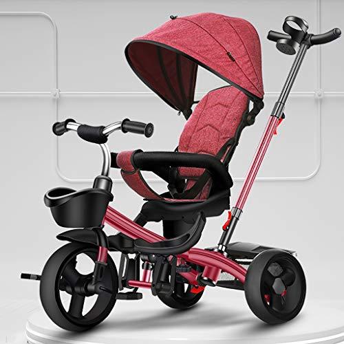 GCXLFJ Triciclo Bebe Niño Plegable Triciclo,1-6 Años De Edad Infantil 4 En 1 Sombrilla Triciclos,con Asa Triciclo,Regalo De Cumpleaños,5 Colores (Color : Rosso)