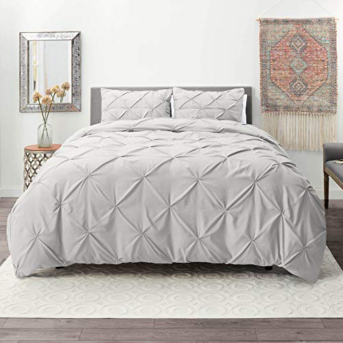 Nestl Duvet Cover Set | Pintuck Comforter Cover | Light Gray Duvet Cover Full | Pinch Pleat Duvet Cover | Ultra Soft Microfiber Hotel Collection