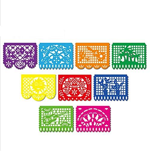 Xingying Striscione messicana Papel Picado Fiesta, riutilizzabile e in plastica, decorazione per la casa