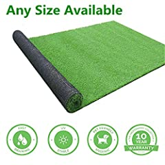 Premium Quality: Our artificial grass are UV-proof, weather resistant, low-maintenance and eco-friendly, made of super-strong high density polyethylene that's soft to the touch and water resistant latex backing with drainage holes for water pass thro...