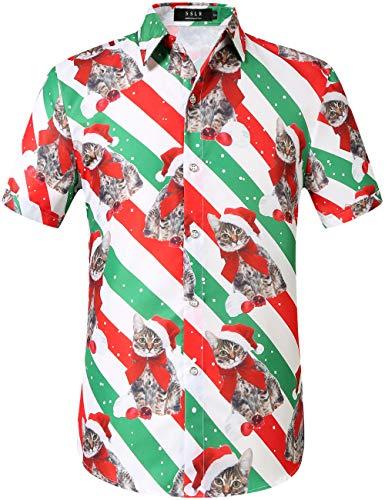 SSLR Men's Santa Claus Holiday Party Hawaiian Ugly Christmas Shirts (Large, White Green)