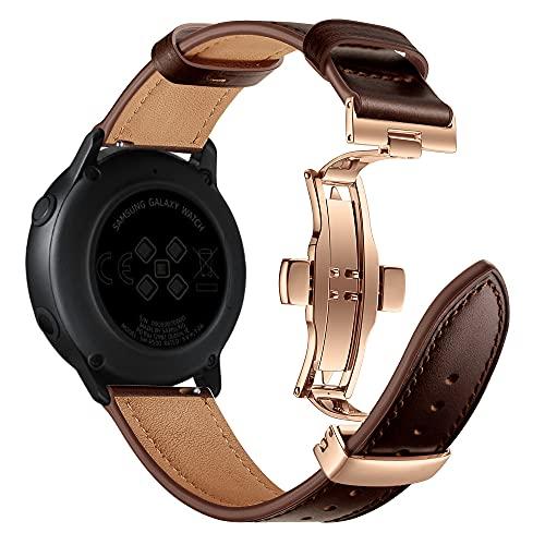 AISPORTS Compatible con Samsung Galaxy Watch Correa de piel auténtica de 42 mm, 20 mm de liberación rápida, correa de repuesto para Samsung Galaxy Watch 3 41 mm/Active 2/Active