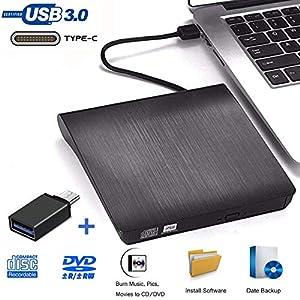 Grabadora DVD Externa, iAmotus Unidades CD/DVD Externas USB 3.0 Lector Grabadora Y Tipo-c Grabadora Externa Ultra Slim Portátil para Windows 10 7/8 / Vista/XP/Mac OS/Mac/Desktop Linux, Laptop