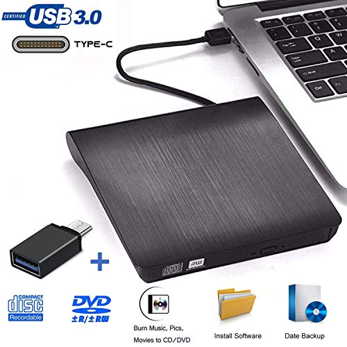 iAmotus Externe dvd-drive, dvd-drive, USB 3.0, Type-c, dual poort, dvd-brander, draagbare ultradun, CD/dvd-rw-speler, disc-rewriter voor laptop, desktop, notebook, Mac OS, Windows 10/8/7/XP Linux OS
