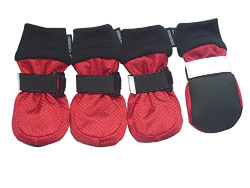 LONSUNEER Winter Paw Protector Dog Boots Waterproof Soft Sole and Nonslip Set of 4 Color Red Size X-Small