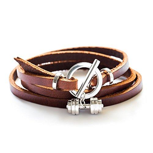 Pulsera de plata de ley con mancuernas pulsera de cuero Joyería de fitness (marrón)