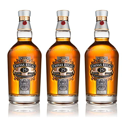 Chivas Regal 25 años Blended Scotch Whisky 3er Set, Whiskey, Schnaps, Spirituose, Alcohol, Botella, 40%, 3x700 ml