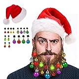 HOWAF 16 Piezas Adornos para Barbas Campanas navideñas para Barbas Ganchos de Barba de Papá Noel, 4 Luces y 12 cascabeles Barbas Bolas de Navidad, 1 Gorro Navideño Gorro Papá Noel Adultos