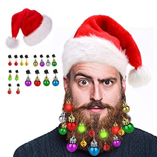 HOWAF 16 Piezas Adornos para Barbas Campanas navideñas para Barbas Ganchos de Barba de Papá Noel, 4 Luces y 12...